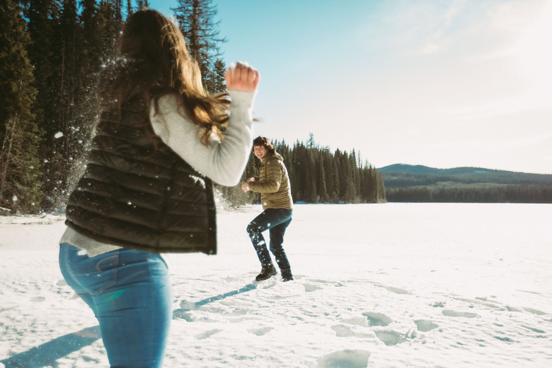 Winter engagement session with Rossland wedding photographer
