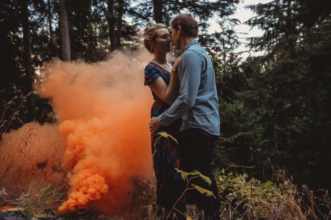Smoke bomb engagement session Kootenay Wedding Photographer